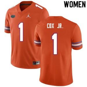 Women #1 Brenton Cox Jr. Florida Gators College Football Jerseys Orange 188675-241