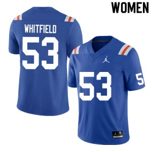 Women #53 Chase Whitfield Florida Gators College Football Jerseys Throwback 877458-611