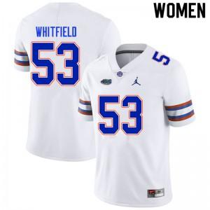 Women #53 Chase Whitfield Florida Gators College Football Jerseys White 628942-729