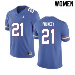 Women #21 Ethan Pouncey Florida Gators College Football Jerseys Blue 615998-242