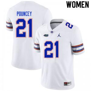 Women #21 Ethan Pouncey Florida Gators College Football Jerseys White 419178-968