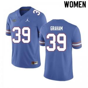 Women #39 Fenley Graham Florida Gators College Football Jerseys Blue 844880-382