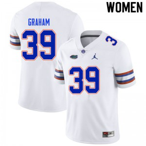 Women #39 Fenley Graham Florida Gators College Football Jerseys White 381913-992