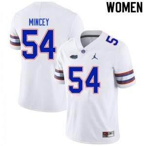 Women #54 Gerald Mincey Florida Gators College Football Jerseys White 469325-778