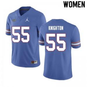 Women #55 Hayden Knighton Florida Gators College Football Jerseys Blue 742924-802