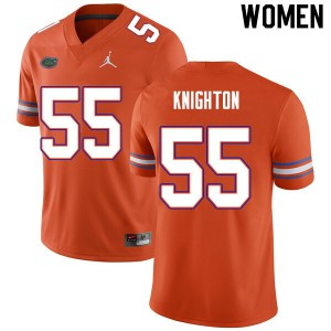 Women #55 Hayden Knighton Florida Gators College Football Jerseys Orange 554780-833