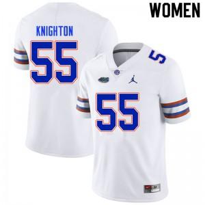 Women #55 Hayden Knighton Florida Gators College Football Jerseys White 122646-635