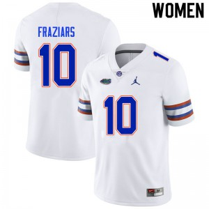 Women #10 Ja'Quavion Fraziars Florida Gators College Football Jerseys White 765442-988