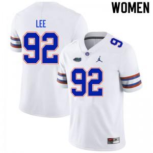 Women #92 Jalen Lee Florida Gators College Football Jerseys White 933421-217