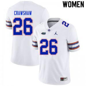 Women #26 Jeremy Crawshaw Florida Gators College Football Jerseys White 160235-245