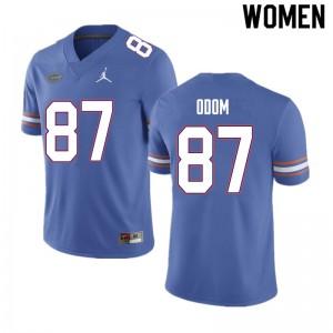 Women #87 Jonathan Odom Florida Gators College Football Jerseys Blue 424502-755