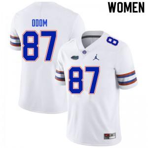 Women #87 Jonathan Odom Florida Gators College Football Jerseys White 137941-933