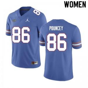 Women #86 Jordan Pouncey Florida Gators College Football Jerseys Blue 366959-319