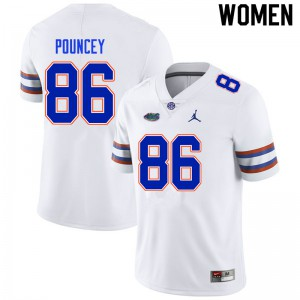 Women #86 Jordan Pouncey Florida Gators College Football Jerseys White 398171-980