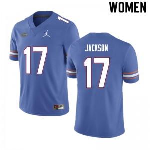 Women #17 Kahleil Jackson Florida Gators College Football Jerseys Blue 997987-295