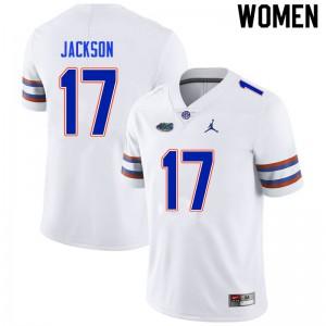 Women #17 Kahleil Jackson Florida Gators College Football Jerseys White 476921-374