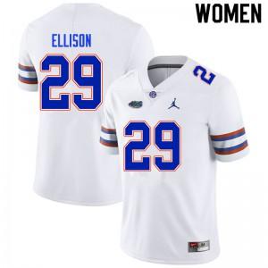 Women #29 Khamal Ellison Florida Gators College Football Jerseys White 334785-534