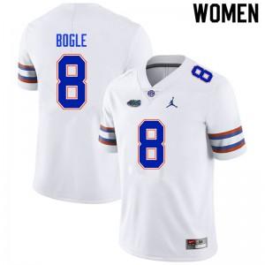Women #8 Khris Bogle Florida Gators College Football Jerseys White 577958-885