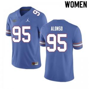 Women #95 Lucas Alonso Florida Gators College Football Jerseys Blue 245724-475