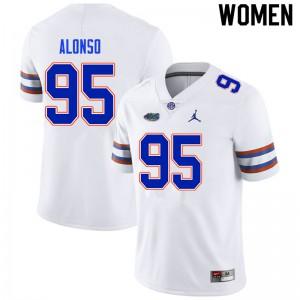 Women #95 Lucas Alonso Florida Gators College Football Jerseys White 402221-431