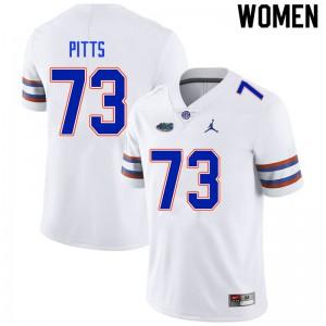 Women #73 Mark Pitts Florida Gators College Football Jerseys White 861058-348