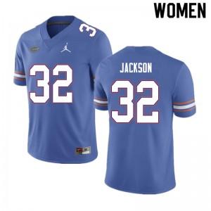 Women #32 N'Jhari Jackson Florida Gators College Football Jerseys Blue 969855-877
