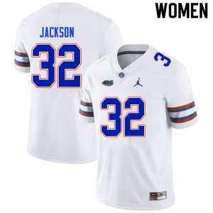Women #32 N'Jhari Jackson Florida Gators College Football Jerseys White 626022-547