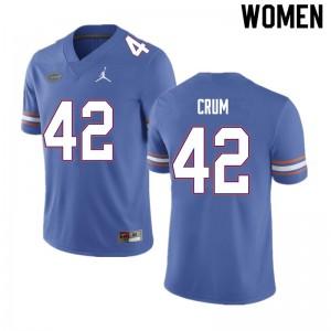 Women #42 Quaylin Crum Florida Gators College Football Jerseys Blue 251290-490