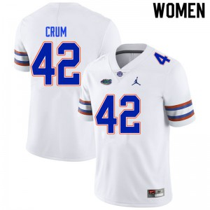 Women #42 Quaylin Crum Florida Gators College Football Jerseys White 382526-244