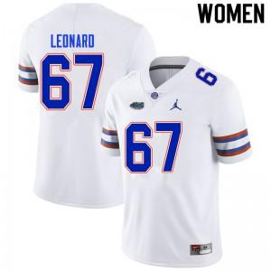 Women #67 Richie Leonard Florida Gators College Football Jerseys White 143067-595
