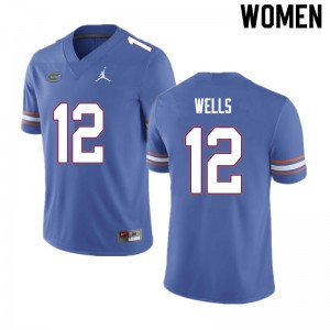 Women #12 Rick Wells Florida Gators College Football Jerseys Blue 412178-649