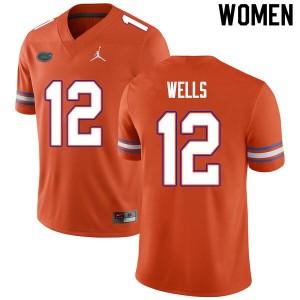Women #12 Rick Wells Florida Gators College Football Jerseys Orange 978753-976