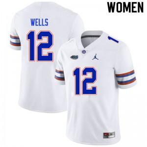 Women #12 Rick Wells Florida Gators College Football Jerseys White 414751-754