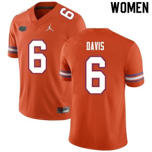 Women #6 Shawn Davis Florida Gators College Football Jerseys Orange 842503-854