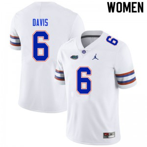 Women #6 Shawn Davis Florida Gators College Football Jerseys White 554814-561