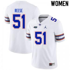 Women #51 Stewart Reese Florida Gators College Football Jerseys White 988952-756