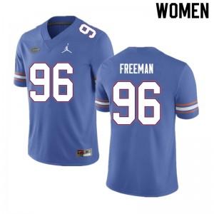 Women #96 Travis Freeman Florida Gators College Football Jerseys Blue 988413-310