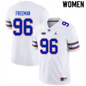 Women #96 Travis Freeman Florida Gators College Football Jerseys White 444837-778
