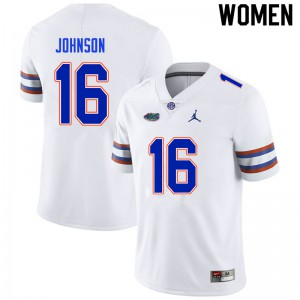 Women #16 Tre'Vez Johnson Florida Gators College Football Jerseys White 611091-451