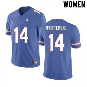 Women #14 Trent Whittemore Florida Gators College Football Jerseys Blue 667014-272