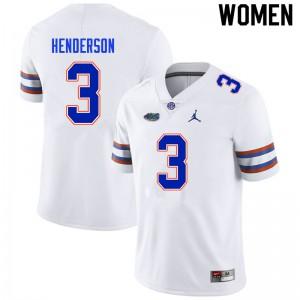 Women #3 Xzavier Henderson Florida Gators College Football Jerseys White 231272-152