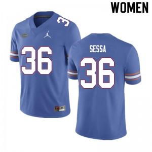Women #36 Zack Sessa Florida Gators College Football Jerseys Blue 585258-164