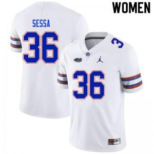 Women #36 Zack Sessa Florida Gators College Football Jerseys White 241255-390