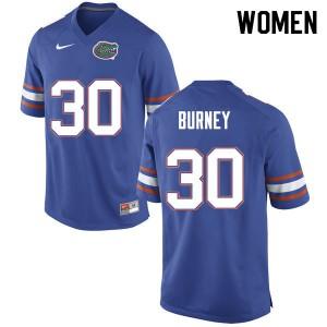 Women #30 Amari Burney Florida Gators College Football Jerseys Blue 358491-620