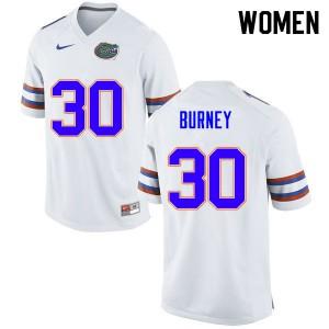 Women #30 Amari Burney Florida Gators College Football Jerseys White 768069-644