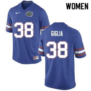 Women #38 Anthony Giglia Florida Gators College Football Jerseys Blue 601933-914