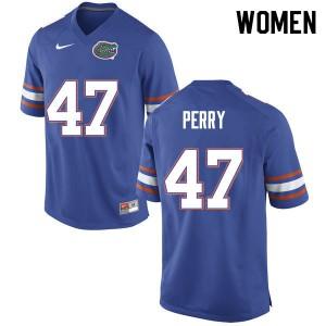 Women #47 Austin Perry Florida Gators College Football Jerseys Blue 694415-793