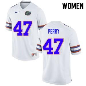 Women #47 Austin Perry Florida Gators College Football Jerseys White 971408-827