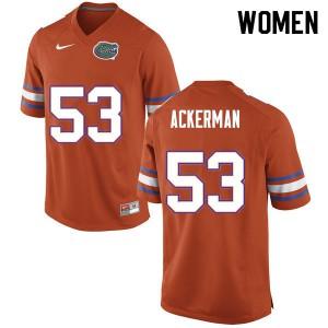 Women #53 Brendan Ackerman Florida Gators College Football Jerseys Orange 325139-846