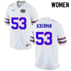 Women #53 Brendan Ackerman Florida Gators College Football Jerseys White 167576-593